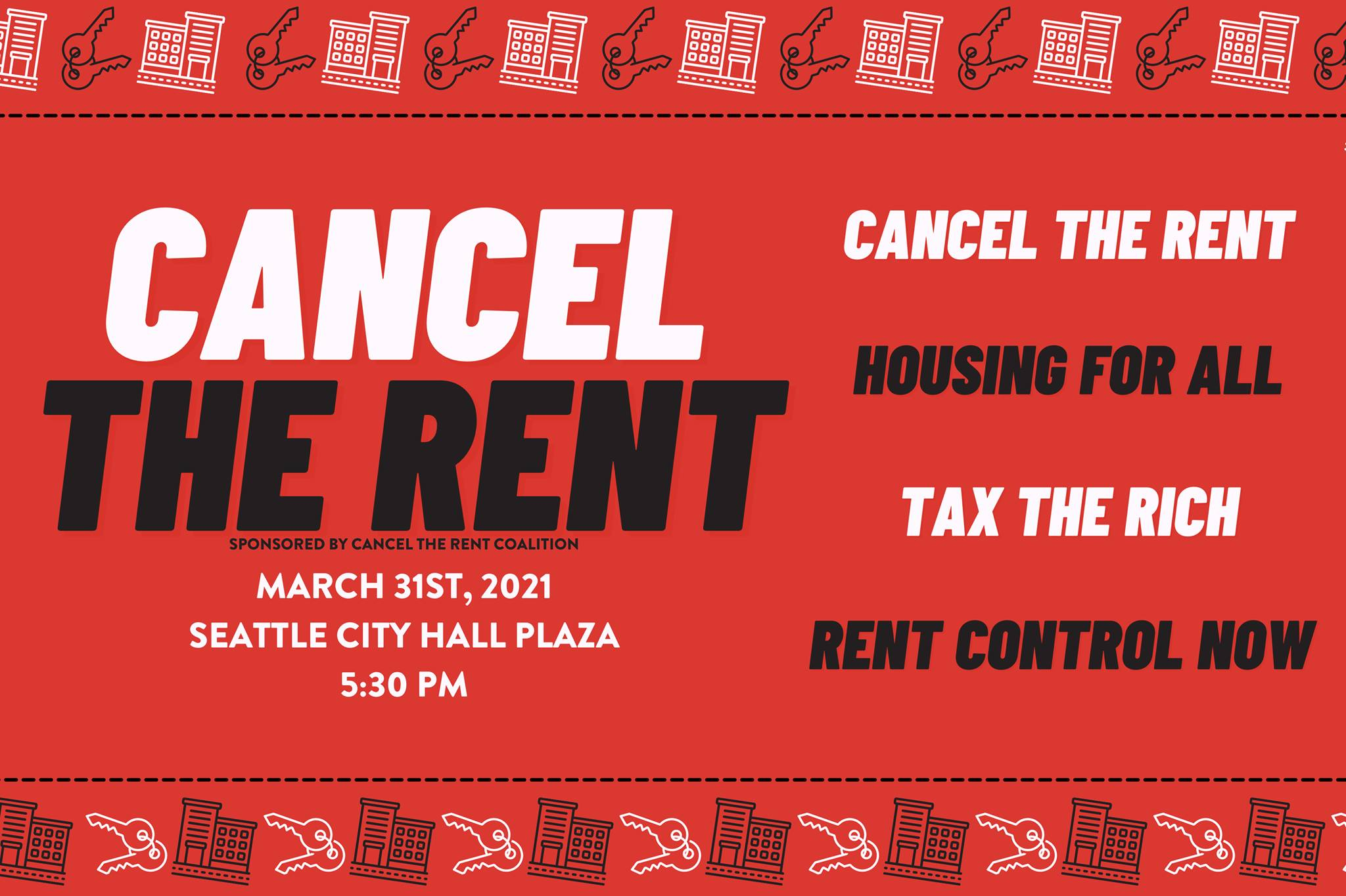 Red banner with white and black lettering - Cancel the Rent, Housing for All, Tax the Rich, Rent Control Now