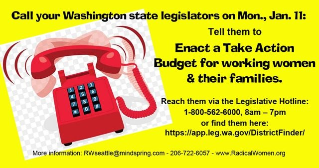 yellow banner with red phone and instructions to call Washington State Legislature