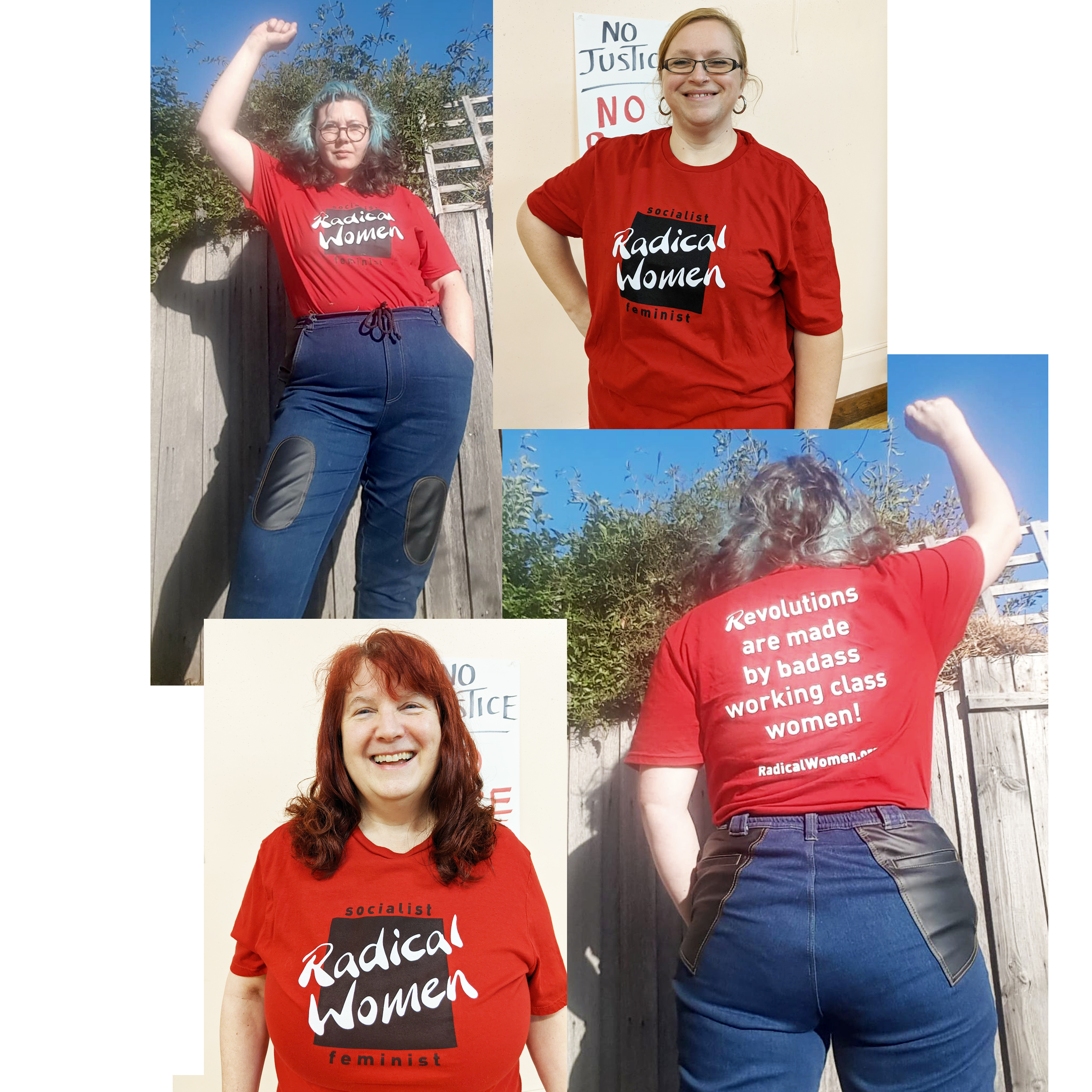 Four women modeling the t-shirt front and back views