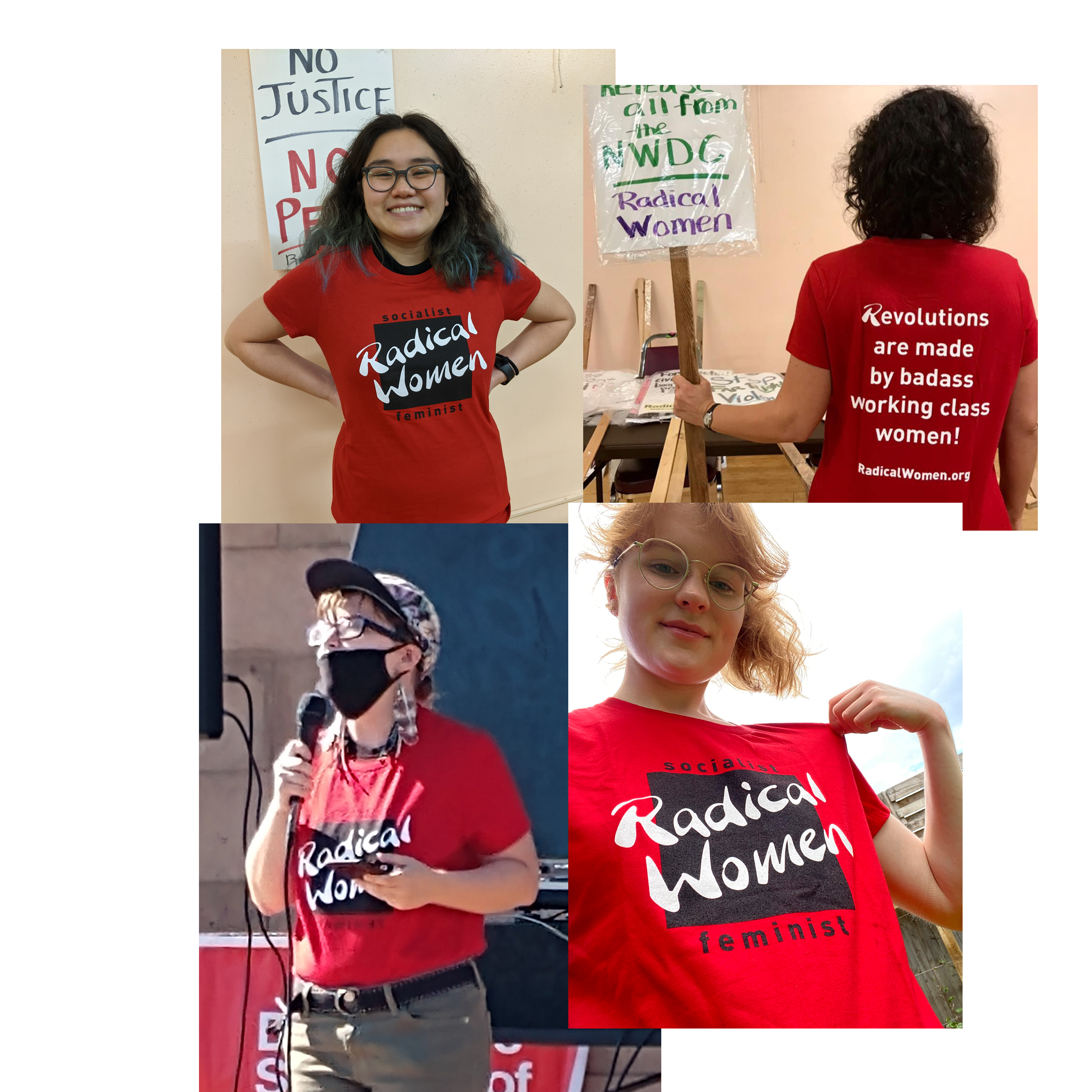 Women modeling the t-shirt sowing front and back views