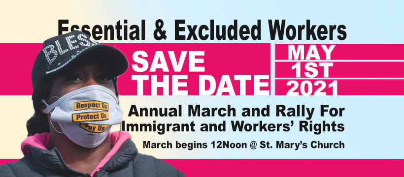 poster with photo of masked worker - Essential & Excluded Workers - annual march and rally